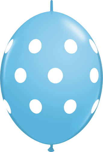 10 Robins Egg Blue Big Polka Dots  helium filled linking balloons