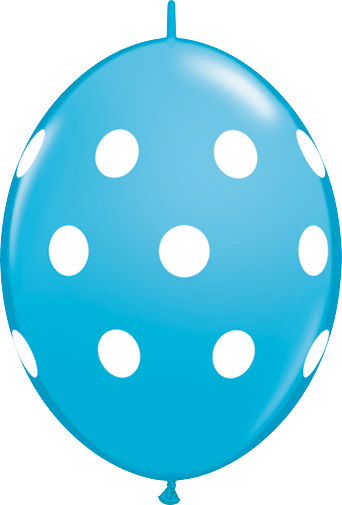 10 Pale Blue Big Polka Dots  helium filled linking balloons
