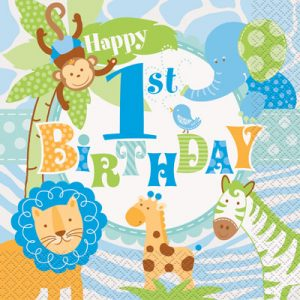 1st Birthday Blue Safari Pack of 20 Luncheon napkins at London Helium Balloons