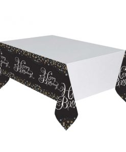 Gold Celebration Happy Birthday Plastic Tablecover 1.37 X 2.6m