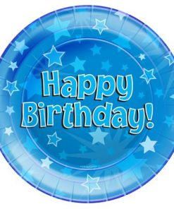 Oaktree Blue Happy Birthday Plates (8)