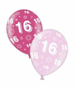 "10 16th Birthday Fab Fuchsia 11"" Helium Filled Balloons"