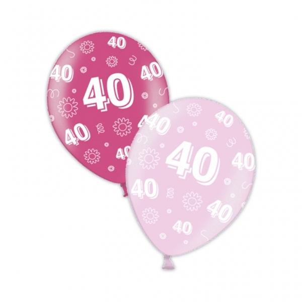 "10 40th Birthday Fab Fuchsia 11"" Helium Filled Balloons"