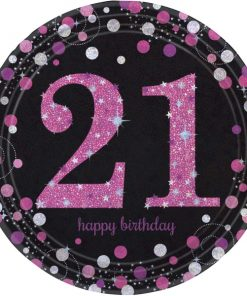 Pink Celebration Happy 21st Birthday Paper Plates (8)