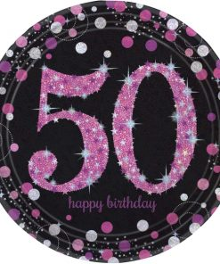 Pink Celebration Happy 50th Birthday Paper Plates (8)
