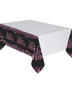 Pink Celebration Happy Birthday Plastic Tablecover 1.37 X 2.6m
