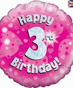 Oaktree Pink 3rd Birthday Helium Balloon at London Helium Balloons