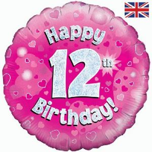 Oaktree Pink 12th Birthday Helium Balloon at London Helium Balloons