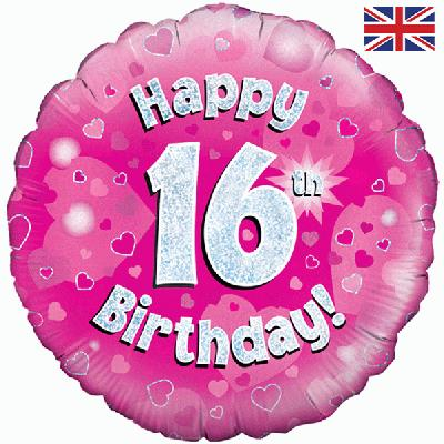 Get Oaktree Pink 16th Birthday Helium Balloon Balloons Delivered To Your Choice Of Venue