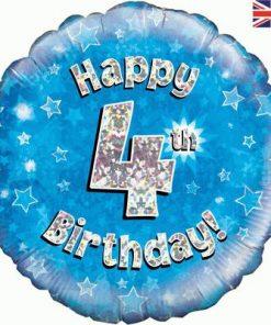 Oaktree Blue 4th Birthday Helium Balloon at London Helium Balloons
