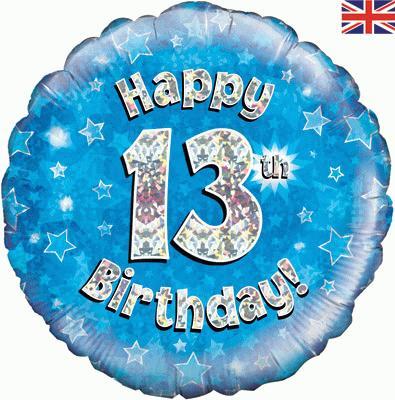 Oaktree Blue 13th Birthday Helium Balloon at London Helium Balloons