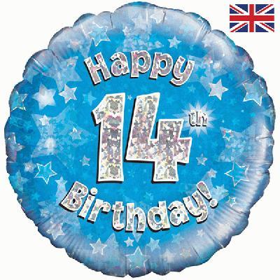 Oaktree Blue 14th Birthday Helium Balloon at London Helium Balloons