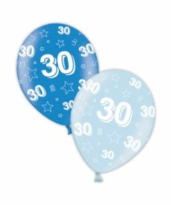 """10 30th Birthday Rich/Icy Blue 11"""" Helium Filled Balloons"""