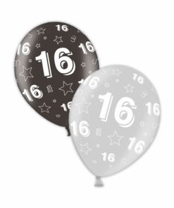 "10 16th Birthday Shimmering Silver/Deepest Black 11"" Helium Filled Balloons"