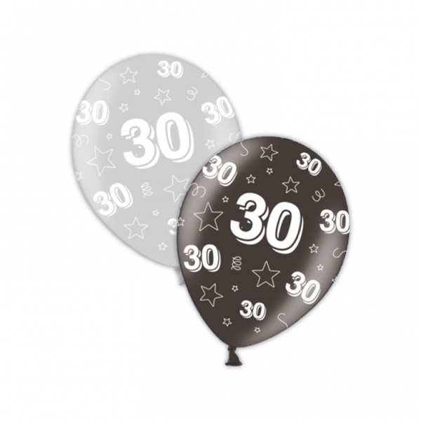 """10 30th Birthday Shimmering Silver/Deepest Black 11"""" Helium Filled Balloons"""