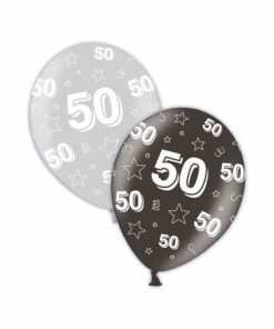 "10 50th Birthday Shimmering Silver/Deepest Black 11"" Helium Filled Balloons"