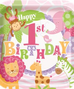 1st Birthday Pink Safari Pack of 8 Plates at London Helium Balloons
