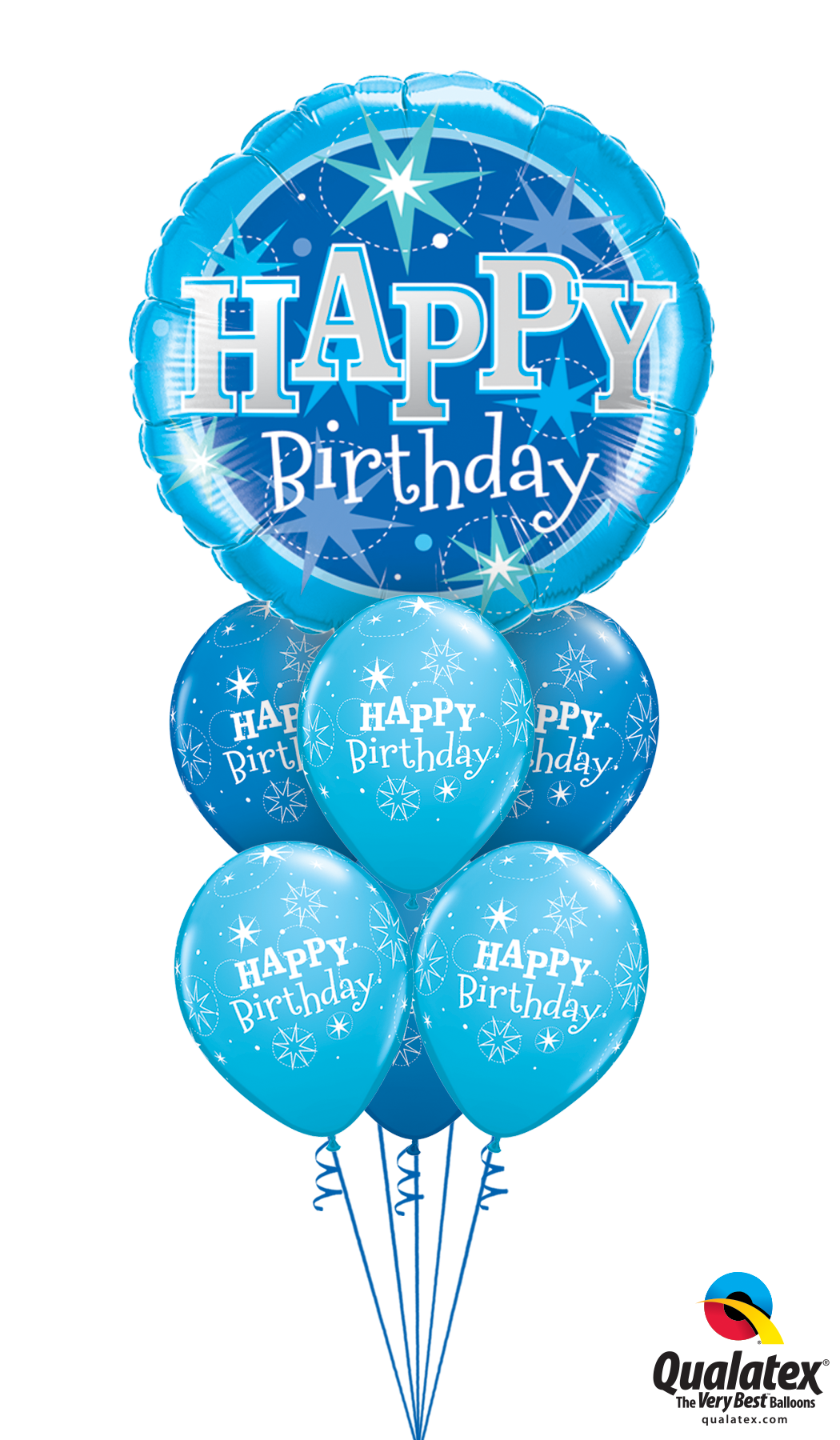 Happy Birthday Blue Bouquet Helium Filled Foil Balloon