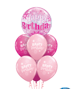 Pink Birthday Bouquet at London Helium Balloons