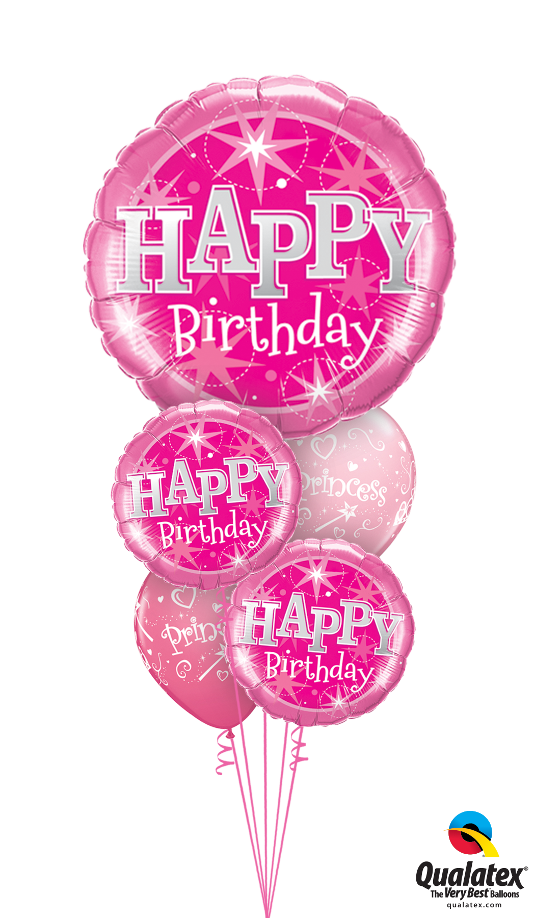 Haopy Birthday Pink Bouquet Helium Filled Foil Balloon