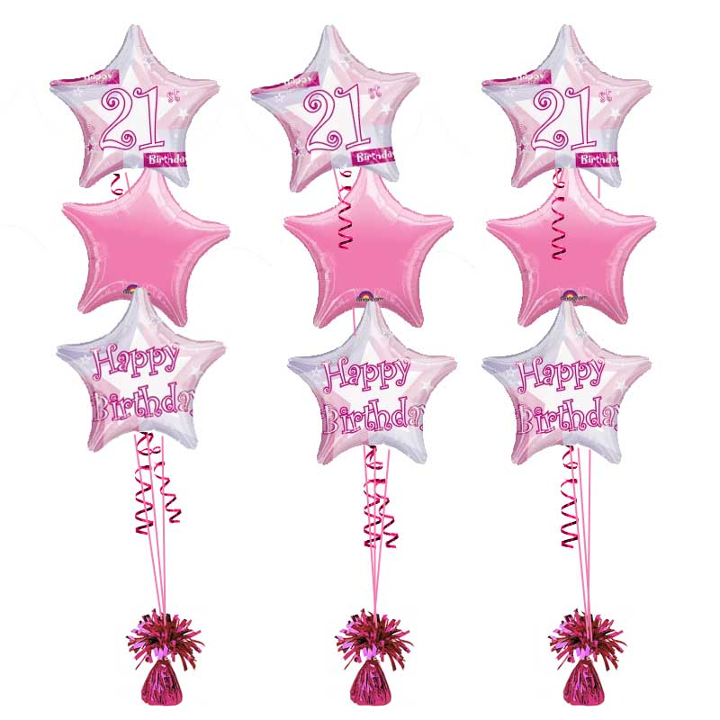 21st Birthday Pink Shimmer Bouquet Balloons Helium Filled Foil Balloon