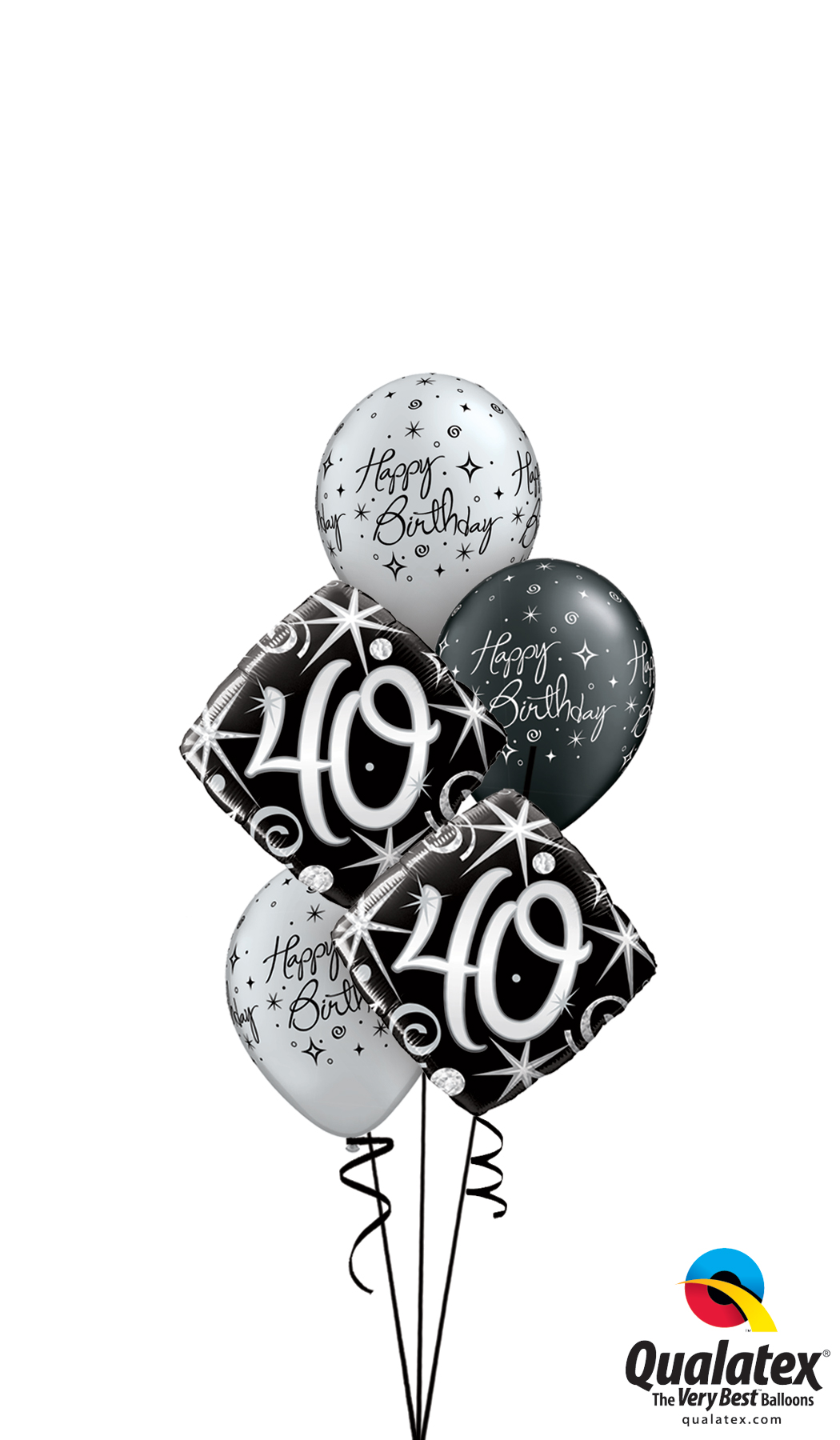 40th Birthday Black Silver Bouquet Helium Filled Foil Balloon