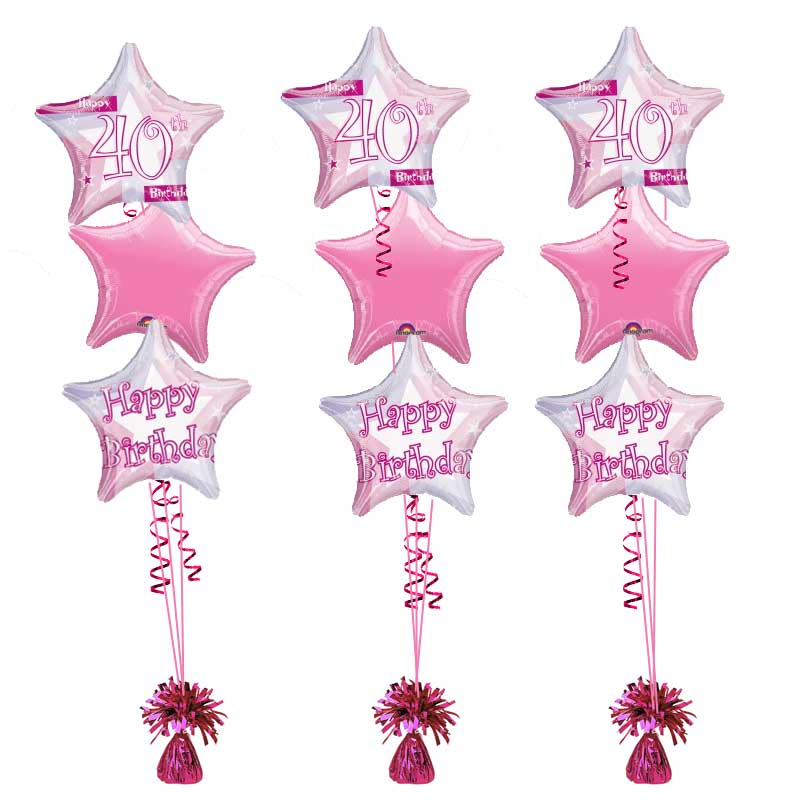 40th Birthday Pink Shimmer Bouquet Helium Filled Foil Balloon
