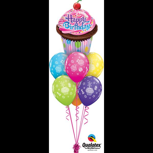 Birthday Cupcake Luxury bouquet at London Helium Balloons