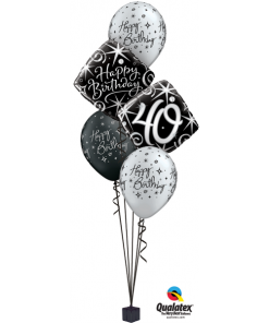 Black/silver elegant Milestone Bouquet at London Helium Balloons