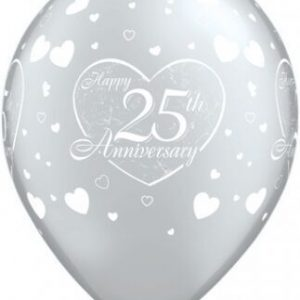 "10 25th Anniversary 11"" Latex Helium Filled Party Party Balloons"