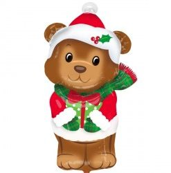 "Christmas bear junior shape 18"" Helium filled Foil Balloon delivered in London"