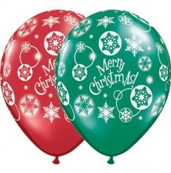 """Christmas snowflakes 11 emerald and ruby red 11"""" Helium Filled latex balloons"""