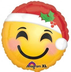 """Santa Hat Smiley Face 18"""" Helium filled Foil Balloon delivered in London"""