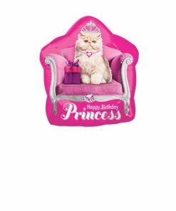 Kitten Princess Birthday Supershape Helium Filled Balloon Bouquet with 2 Treated Latex and 2 Foil Balloons