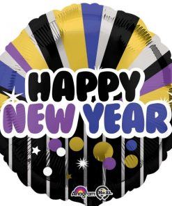 "Purple & Gold Happy New Year 18"" at London Helium Balloons"