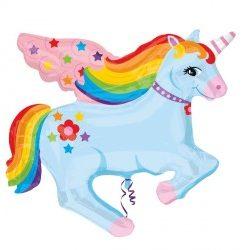 Rainbow unicorn helium filled foil balloon