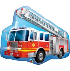 Red Fire Truck helium filled foil balloon