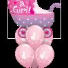 Baby Girl Pram at London Helium Balloons