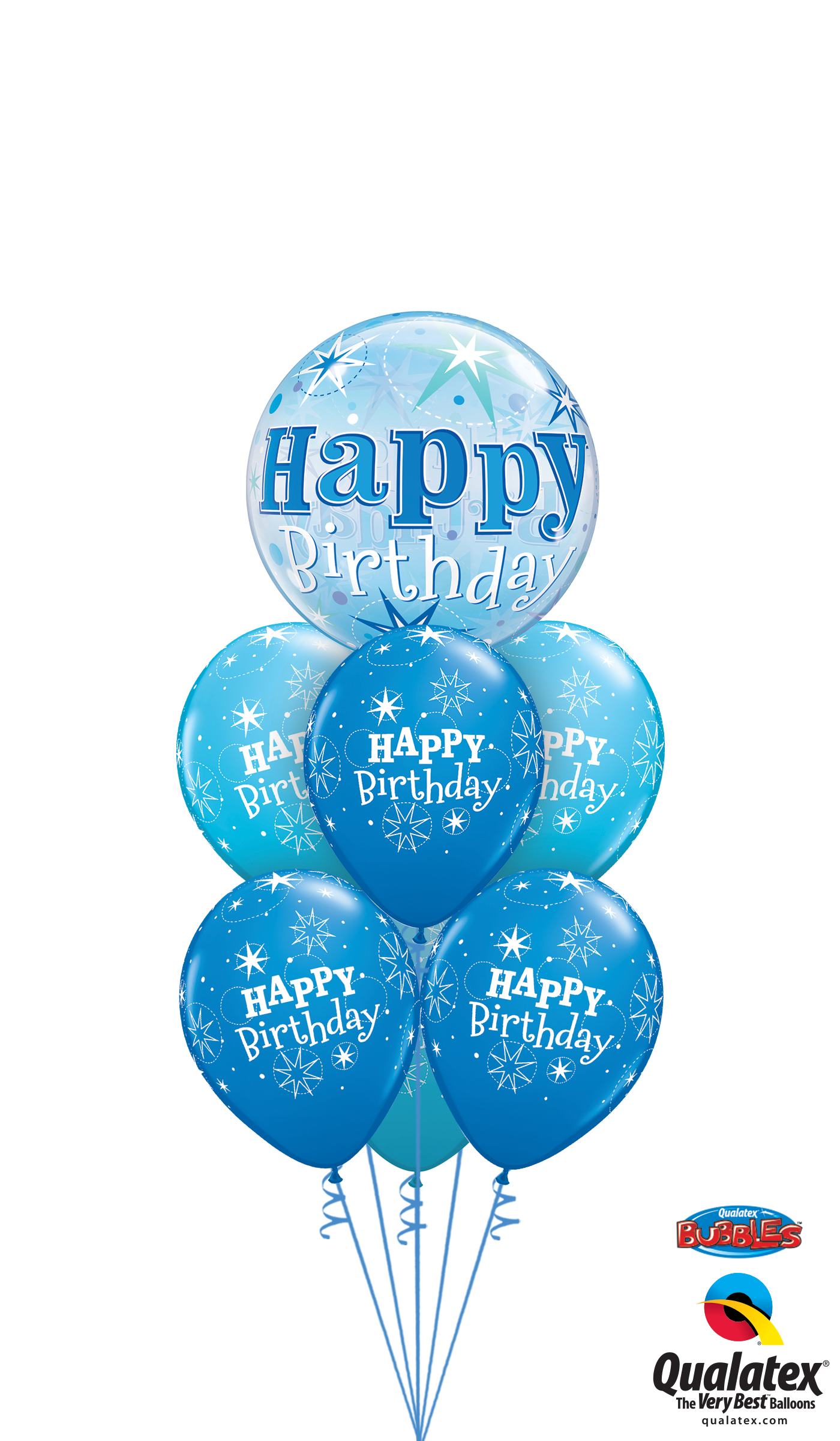 Get Birthday Blue Bubble Luxury Helium Balloons Delivered To Your Choice Of Venue