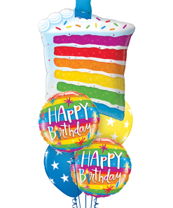 Rainbow Cake & Candle at London Helium Balloons
