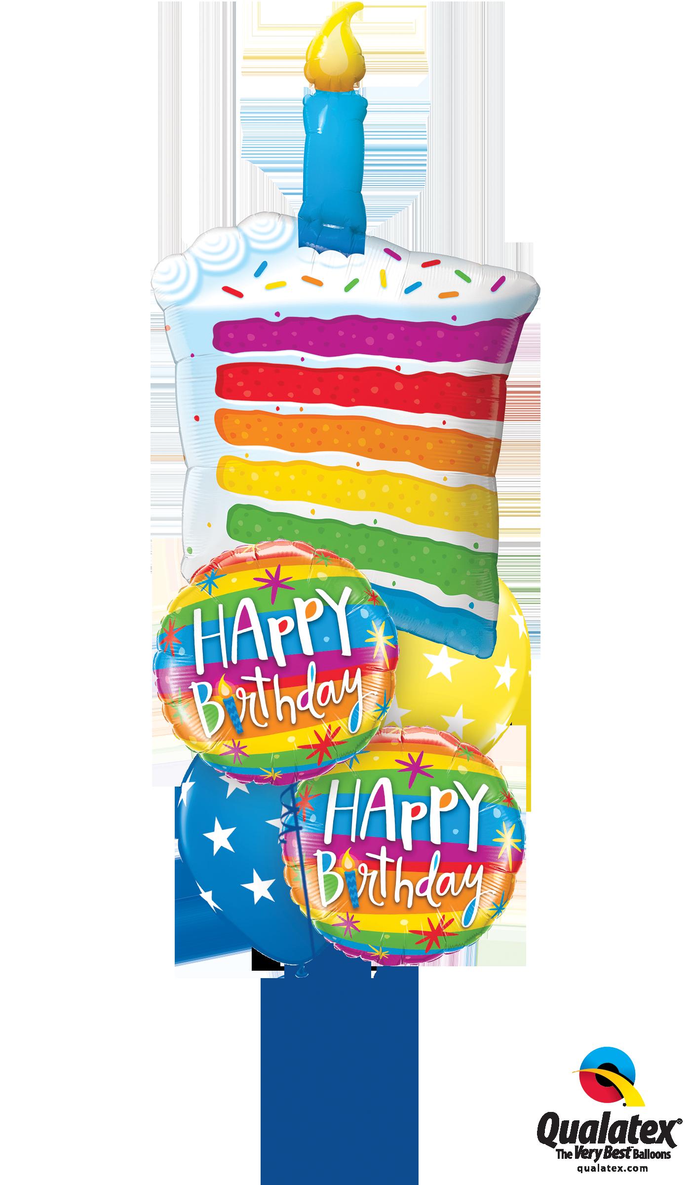 Rainbow Cake & Candle at London Helium Balloons