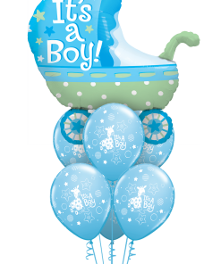 Baby Boy Pram at London Helium Balloons