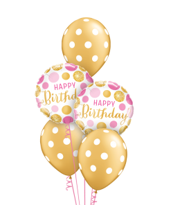 Gold & Pink Polka Dots at London Helium Balloons