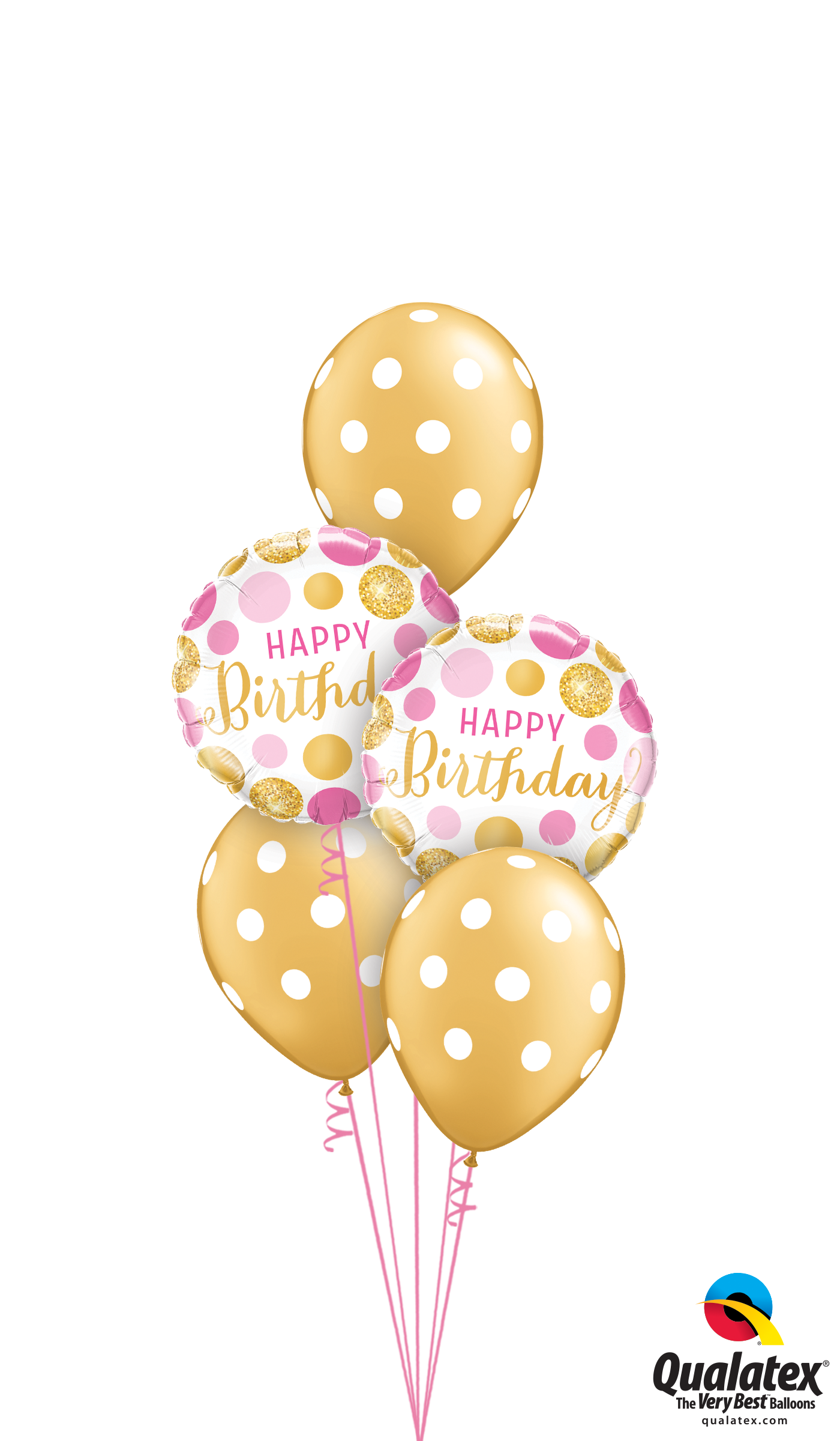 Get Gold Pink Polka Dots Helium Balloons Delivered To Your Choice Of Venue