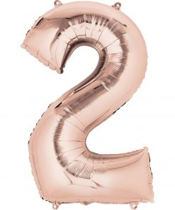 "Rose Gold Number 2 34"" Helium Filled foil balloon"