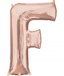 Rose Gold Supershape Letter F Helium Filled foil Balloon