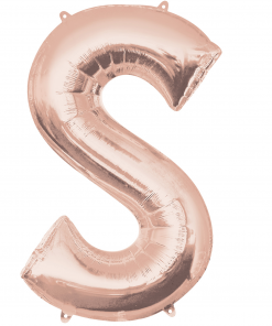 Rose Gold Supershape Letter S Helium Filled foil Balloon
